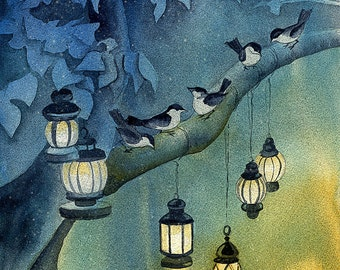 Snow Birds Watercolor Art Print, Birds Wall Art, Winter Nature Painting, Bird Home Decor, Moonlight Lantern Snowy Night Blue Art