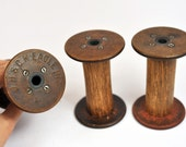 3 Vintage Bobbins - Spools - EAGLE MILLS - Store your twines and ribbons with style or use for photoshoots - OOAK