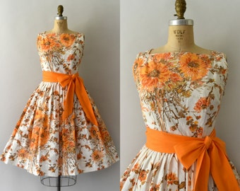 1950s Vintage Dress - 50s Orange Floral Cotton Sundress