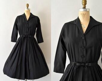 1950s Vintage Dress - 50s Black Shirtwaist Dress