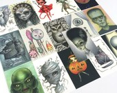 Half Set - Drawlloween mini print set - 16 ATC Mini Halloween inspired Prints by Mab Graves - unframed - open edition