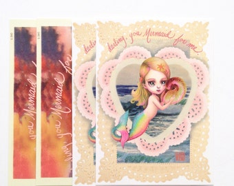 Darling, you Mermaid for me - 4 Valentine Postcards- by Mab Graves
