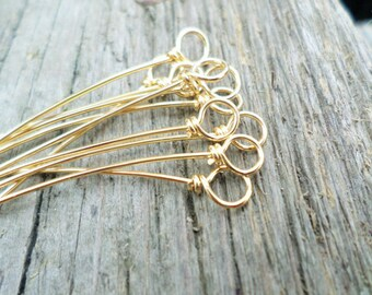 Wrapped Loop Eye pins Choose From Copper, Oxidized Copper, NuGold or Sterling Silver 18g 25pcs Handmade