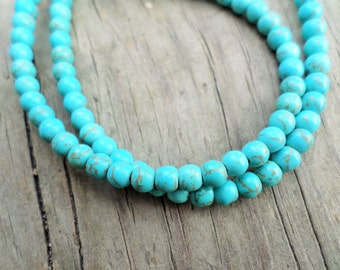 Turquoise Magnesite 4mm rounds Full Strand