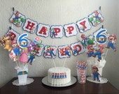Mario Brothers Personalized Banner/ cake topper/ paper straws/ cupcake toppers/ center piece/ welcome sign/ and more.