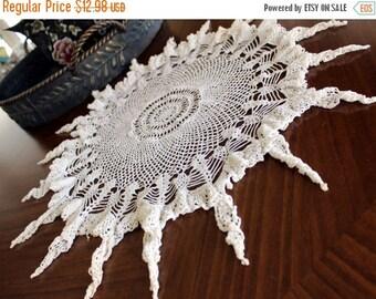 Crochet Doily, White Lacy Doily, Ruffled Doilies, Handkerchief Edge, Large Cotton Doily 13157