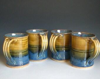 Hand thrown stoneware pottery mugs set of 4  (M-30)