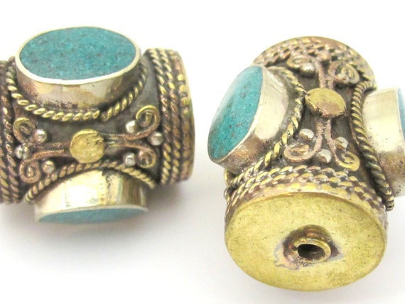 2 Beads -  Large ethnic tibetan brass  bead with 3 sided turquoise inlay from Nepal - BD866