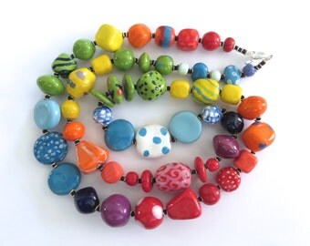 Beaded Necklace, Kazuri Beads,  Fair Trade, Ceramic Jewellery, Rainbow Colors