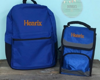 Boys Personalized Backpack Set- Blue, Green, Charcoal, Red, Black