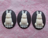 Beautiful black and white tone plastic rabbit design cameos.  Lot of 3 cameos.