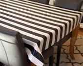 Oilcloth tablecloth Laminated Cotton waterproof coated table cloth laminate cotton square round oval rectangle espresso black white stripe