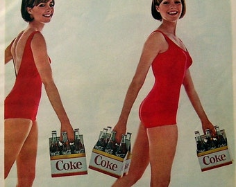 1965 Coca Cola Magazine Ad, Red Swimsuits, 6 Pack of Coke, Drink Coca Cola Ad, Color Print, Retro Ad, Photo Shoot Coca Cola Ad, Decor