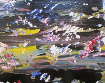 Night Sky Original Abstract Acrylic Painting in Black Mat