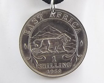 Lion Coin Necklace, East Africa 1 Shilling, Coin Pendant, Leather Cord, Mens Necklace, Womens Necklace, 1952