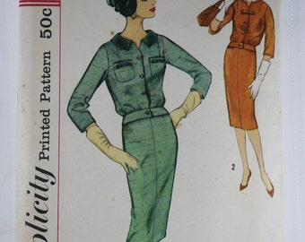 """Simplicity 2728, Misses' Two Piece Dress Sewing Pattern, Dress and Top Pattern, Misses' Slenderette Pattern, Misses Size 14, Bust 34"""", Uncut"""