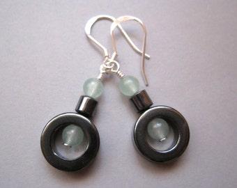 Hematite Ring Earrings, Sterling Silver, Aventurine Earrings, Gemstone Earrings, Modern Stone Jewelry, Zen
