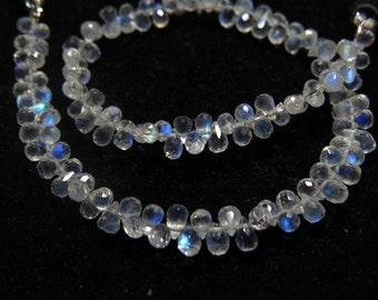 Rainbow Moonstone - 8 Inches - AAAAA - High Quality Micro Faceted Tear Drops Briolettes Gorgeous Blue Flashy Fire sparkle size- 4 - 5mm Long