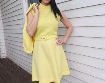 60s Yellow Dress Mod Summer Sleeveless Vintage Retro S M