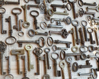 10 antique and vintage medium size keys - iron and brass keys - vintage skeleton keys - old keys - wedding favor (W-9d)