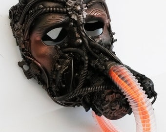 steampunk mask with respirator EL wire