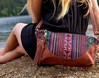 Leather Crossbody Bag // Bohemian // Tribal