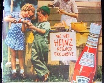 Vintage Advertising 1938 Heinz Ketchup Children Food Stand Original Magazine Ad Thirties Children Fashion