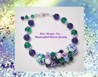 Abstract Polymer Clay Cluster  Bracelet in Purple,Emerald,Indigo and White