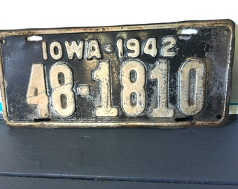 Antique 1942 License Plate