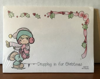 1992 Precious Moments Post-It Notes - UNOPENED Christmas sticky notes by Enesco - 40 sheets - junk journal, scrapbook, letters