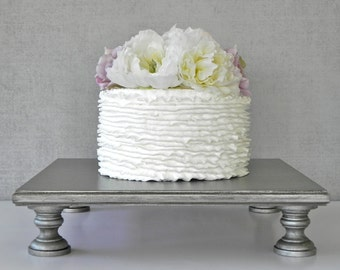 """Silver Cake Stand 20"""" Square Aged Vintage Silver Cake Topper Silver bling Wedding E. Isabella Designs As Featured In Martha Stewart Weddings"""