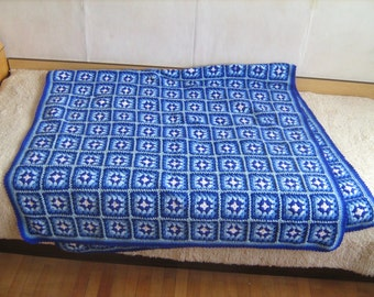 Granny square afghan blanket, handmade, colorful, patchwork, crochet, wrap, cover, blue, light, girl, warm and cozy