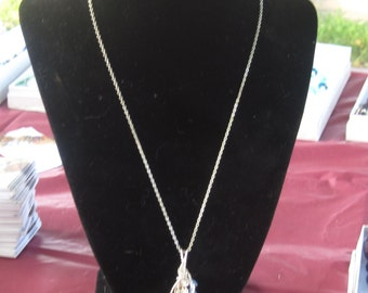 Wire wrapped blue stone with swarovski crystals sterling silver chain