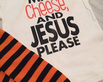 Mac, Cheese, and Jesus Please Shirt