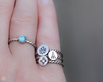 Southwestern Silver Ring, Stacking Ring, Southwestern Design Ring, Native Symbol Ring