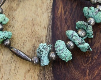 Vintage Statement Turquoise and Sterling Silver Necklace. Nugget turquoise, Native