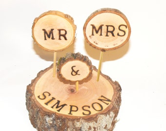 Personalized Wood Centerpiece, Mr & Mrs wedding Cake Topper,  Personal Name Centerpiece, Woodland rustic wedding, Barn event, graduation