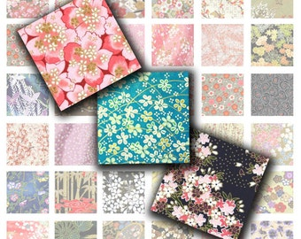 Japanese Chiyogami Paper Digital Collage Sheet (No. 205 - 1 Inch Square Tiles for Glass Pendants, Magnets, and More