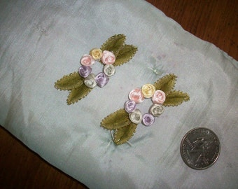 1 Exquisite french antique Ribbon work silk or rayon  on original backing