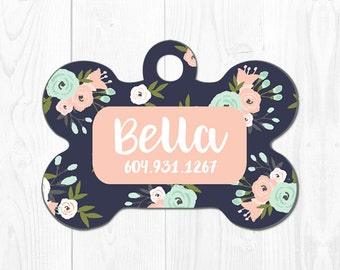 Dog Tag Dog Tags for Dogs Dog Collar Tag Pet Tags for Dog Pink Pet ID Tag Flower Floral Dog Tags for Small Dogs Dog ID Tag Personalized Cute