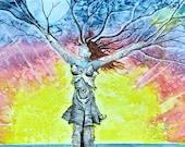 Chakra Dance, tree goddess, Joyful, shamanic symbols, Dryad, Earth Mother, springtime, rainbow, chakra art, fantasy landscape, pagan art
