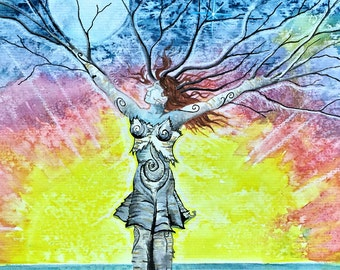 Chakra Dance, tree goddess, Joyful, shamanic symbols, Dryad, Earth Mother, springtime, rainbow, chakra art, fantasy landscape, pagan art