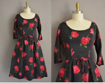 red rose 50s Chase A. Stevens & Co vintage dress / vintage 1950s dress