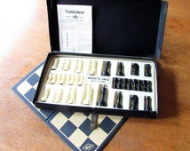 1945 Magnetic Chess Game. COMPLETE w/Original Chessmen  Board Directions and Box. E.S. Lowe Co. - Creator of Chess & Yahtzee. Vintage Game