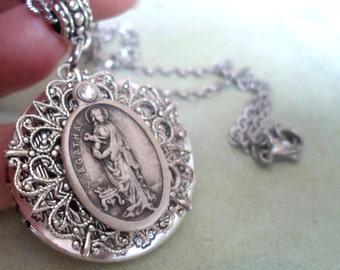 St. Agatha Locket Necklace, Patron Saint of Breast Cancer, Patron Saint of Nurses, Beautiful Filigree Setting, Vintage Silver