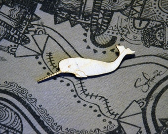 Seconds - Narwhal Wooden Brooch