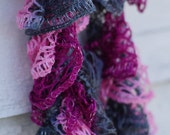 Pink And Grey Ruffly Lacy Scarf
