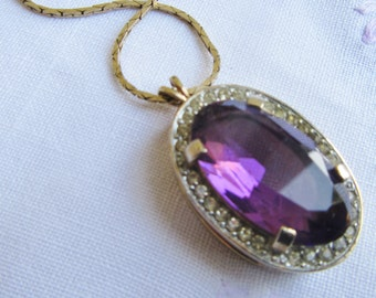 Beautiful Amethyst Pendant Necklace, Statement, Glass Faceted Stone, Clear Rhinestones Bezel, Vintage 70s