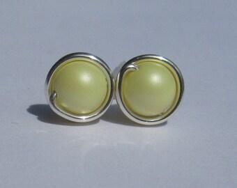 Pastel Yellow Pearl Stud Earrings (8mm), Swarovski Pearl Stud Earrings, Wire Wrapped Sterling Silver Stud Earrings, Pale Yellow Studs