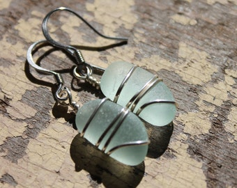 Genuine Sea Glass Earrings - Vintage Sea Foam Sea Glass Earrings